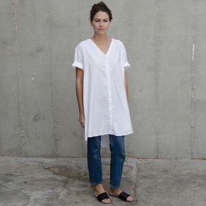 Ali Golden button-down shirt dress, white